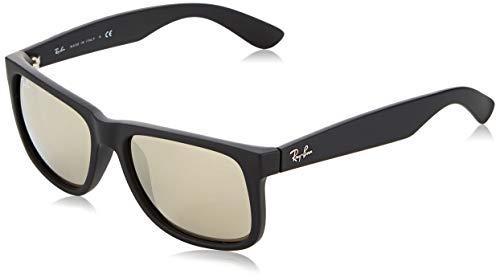 Ray-Ban 0RB4165 Justin Classic Sonnenbrille Large (Herstellergröße: 55), Schwarz (Gestell: schwarz, Gläserfarbe: gold verspiegelt 622/5A)