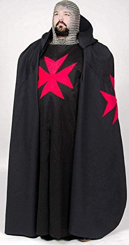 NASIR ALI Medieval Renaissance Knight Black Tunic Cape Cloak Halloween Cosplay Costume