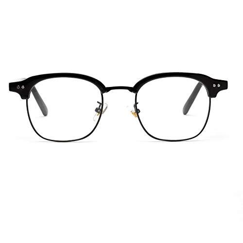 WULE-RYP Polarisierte Sonnenbrille mit UV-Schutz Mens dekorative Brillengestell Optiacl Gläser, klare Linse, Nerd Brille. Superleichtes Rahmen-Fischen, das Golf fährt (Farbe : Light Black)