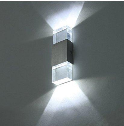 Lightess Applique murale 2 Mini LEDs en Aluminium 6W Lumiaire Intérieur Design Eclairage Lampe Original Décorative pour Chambre Escalier Salon Bureau - Blanc Froid