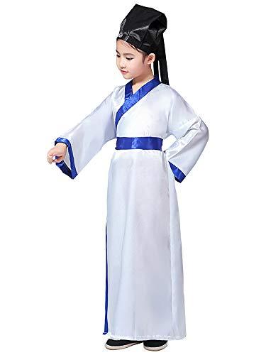 Chinesischen Kostüm Junge Nationalen - XFentech Chinesischer Stil Hanfu - Kinder Uralt Chinesische Nationale Uniform Performance Kostüme,Weiß,EU 90=Tag 100