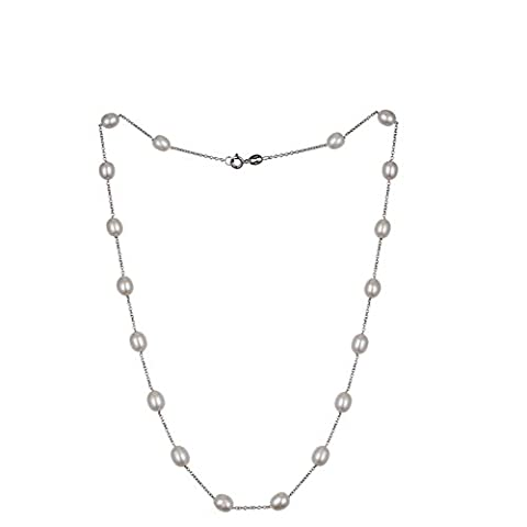 Jan Dee White Natrual Freshwater Rice Shape Pearl Necklace 6-6.5mm