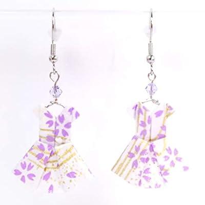 Boucles d'oreilles robes origami petites fleurs violettes sur fond blanc
