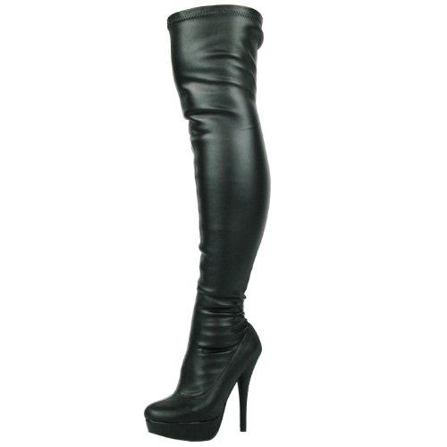 DOK136 Frauen Stilett über Das Knie Strecken Breite Passform Schwarze Overknee Stiefel Schuhe Größe 36 37 38 39 40 41 (37, Rosa...