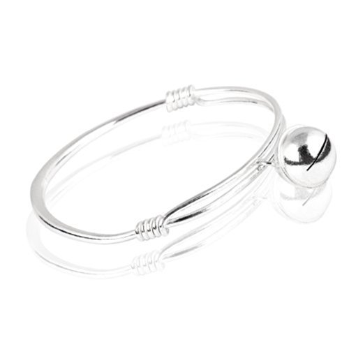 FASHION PLAZA Sterling Silver Baby Childrens small bell Bracelet circumference Expandable 7 Inches Y15