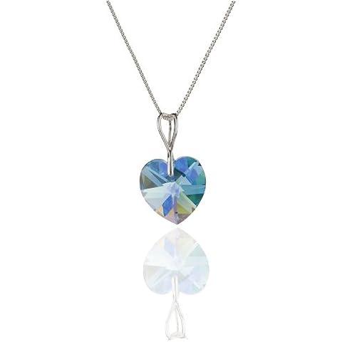 Donna - collana da donna in argento 925 con SWAROVSKI ELEMENTS Crystal Aqua Marine Aurore Boreale a forma di cuore - Aurora Collana
