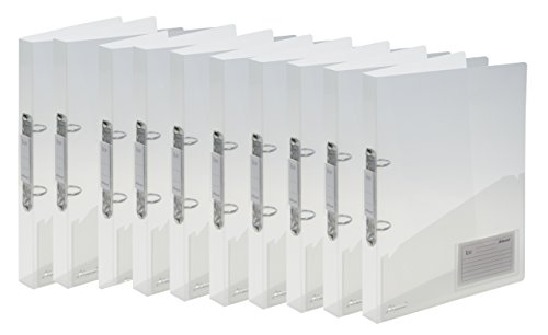 Rexel Raccoglitori a 2 anelli trasparenti, formato A4 confezione da 10 bianco - Arch Binder