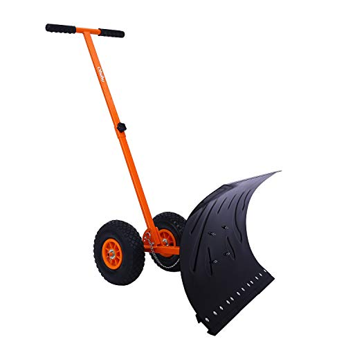 Snow Pusher (H.Yue Snow Shovel, Adjustable Wheeled Snow Pusher, Heavy Duty Rolling Snow Plow Shovels, Efficient Snow Plow Snow Removal Tool (orange))