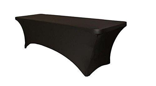 Event Linens 6ft Stretch Tischdecke–Spandex Tight Fit, rechteckige Tisch cover-dj, Messen, Verkäufer schwarz (Dj Cover)