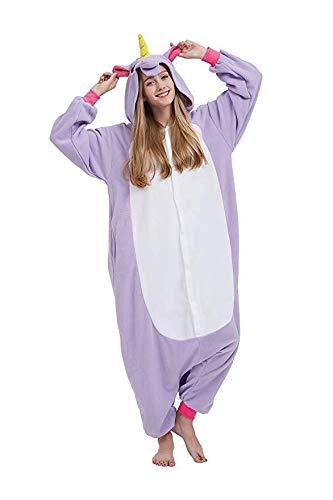 NNDOLL Pyjamas Frauen Männer Einhorn Cosplay Tiere Kostüm Nachthemden Halloween Karneval Mehrfarbig Lila Pegasus XL (Einhorn Kostüm Männer)