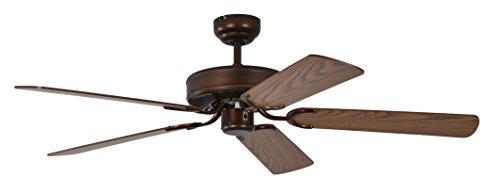 Pepeo Potkuri ventilador de techo sin luz, carcasa de bronce viejo, aspas...