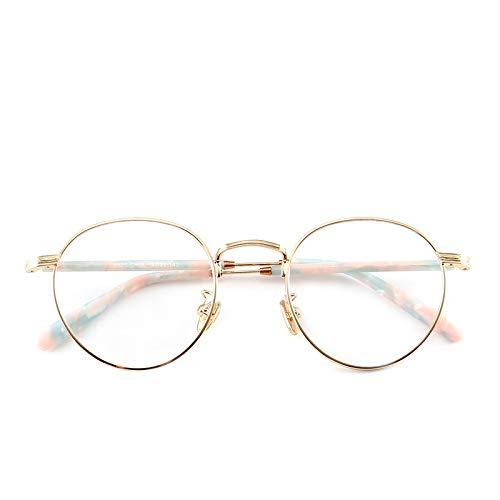 Yangjing-hl Retro Brillengestell weiblich Trend Metall flach Brillengestell hell männlich net rot College kleine frische Gold