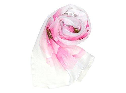Bbonlinedress écharpe châle foulard à fleur en mousseline polyester 160cm×50cm Pink Flower