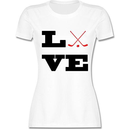 Eishockey Eishockey Love tailliertes Premium TShirt mit Rundhalsausschnitt  für Damen Weiß