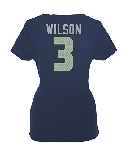 NFL Football T-Shirt Trikot Damen Women SEATTLE SEAHAWKS Russell Wilson  3  navy in 3c1ca74b963