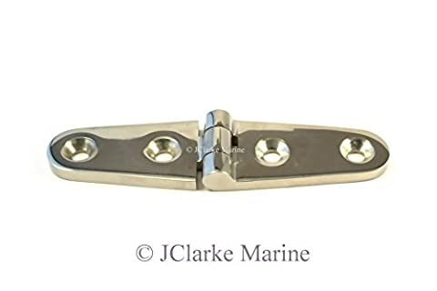 Pack of 1 - Strap hinge made from marine grade stainless steel A4 316 hatch pull ring