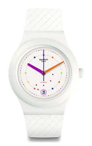 Swatch Damen Digital Automatik Uhr mit Silikon Armband SUTW403