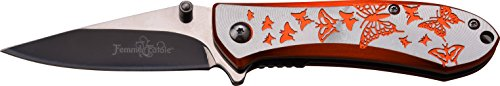 FEMME FATALE Taschenmesser FF-A010 Serie, SCHMETTERLING DESIGN ORANGE/ SILBER ALU Messer Griff, scharfes Jagdmesser, Outdoormesser 7,6 cm ROSTFREI Klinge, Klappmesser für  Angeln/ Camping -