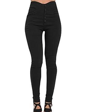 Hibote Pantalones Skinny para Mujer, Pantalones Casuales de Cintura Alta Jeggings Ajustados Largos Modernos Leotardos...