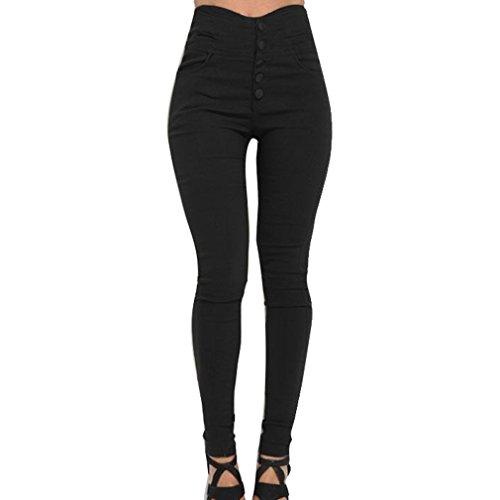 Hibote Pantalones Skinny para Mujer, Pantalones Casuales de Cintura Alta Jeggings Ajustados Largos Modernos Leotardos Elásticos con Botón