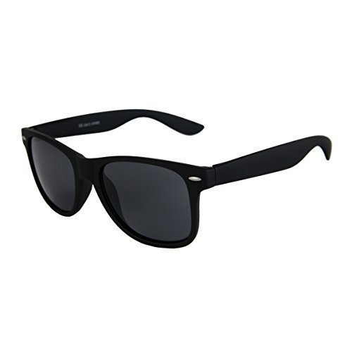 Hochwertige Nerd Sonnenbrille Rubber im Wayfarer Stil Retro Vintage Unisex Brille mit Federscharnier - 96 verschiedene Farben/Modelle wählbar (Schwarz - Smoke)