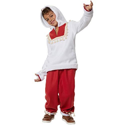 dressforfun 900519 - Jungenkostüm Cooler Eskimojunge, Zweiteiliges Eskimokostüm in Weiß und Rot (152   Nr. 302956)