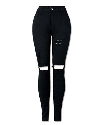 Donna ginocchio strappato skinny jeans pantaloni a vita alta legging xxl nero