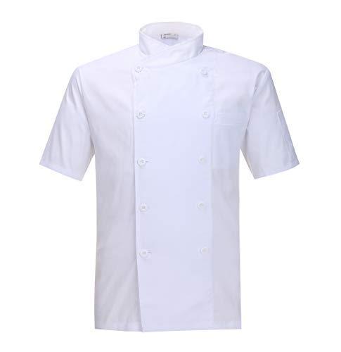 Nanxson Giacca da Cuoco Manica Corta da Uomo in Cotone Traspirante da Cucina Uniforme da Lavoro CFM0029 (XXL, Bianco)
