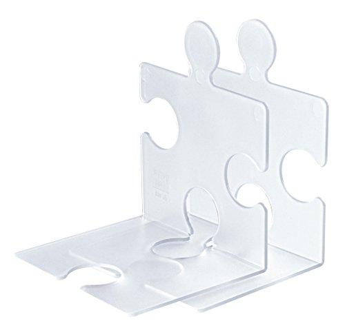Han 9212-63 - Lote de 2 soportes para CD o sujetalibros (plástico), diseño de puzle, transparente