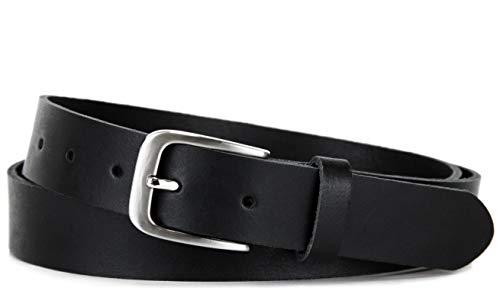 Frentree Ledergürtel 100% Echt Leder, Made in Germany, 3 cm breit und 0.25 cm stark, Schwarz oder Braun - Damen Frauen Leder Schwarz