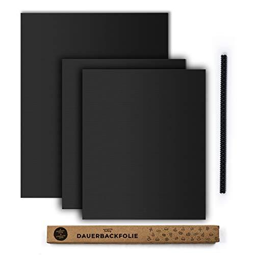 tastory - Schwarze hochwertige Dauerbackfolie für Backofen (3er Set) & Hitzeschutzleiste - Backpapier wiederverwendbar, Dörrfolie spülmaschinenfest, Backfolie zuschneidbar 40x33cm und XXL 50x40cm