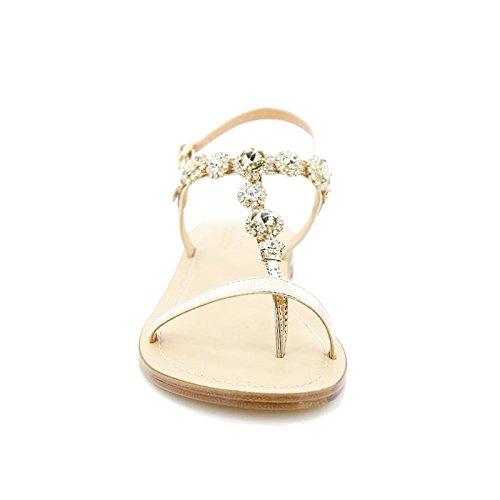 Toocool - Scarpe donna sandali infradito gioiello strass ciabatte flat Queen Helena 6003 Oro