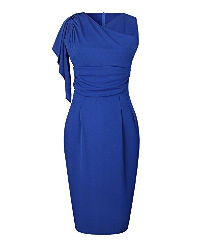 Whoinshop Damen Elegant Abendkleid Rundhals Etuikleid mit Falte Ärmellos Knielanges Cocktailkleid Pencil Kleid Blau