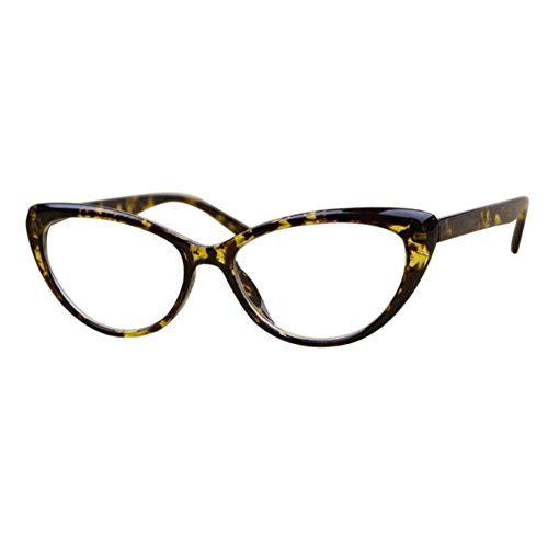 869d18a5da Inlefen Vintage Cat Eye Reading Glasses Full Frame Readers for Women  (Yellow +4.0)