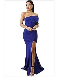 7a1d982a3 Elegante noche de baile Mujeres fuera del hombro Vestido de fiesta de noche  formal Corte alto Un hombro Sirena Vestido largo Vestido…
