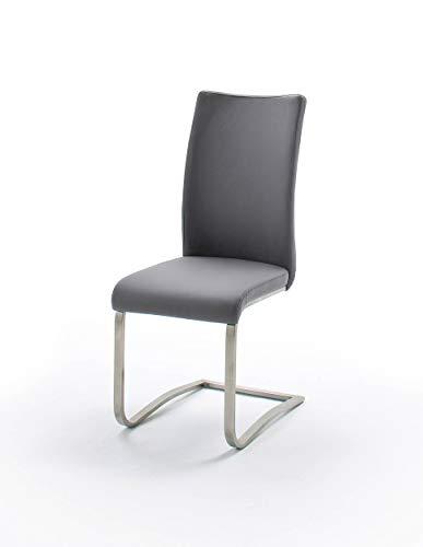 Design-Wohngalerie 2er Set Schwingstuhl Arco 1 - Edelstahl gebürstet & Bezug PU in Grau