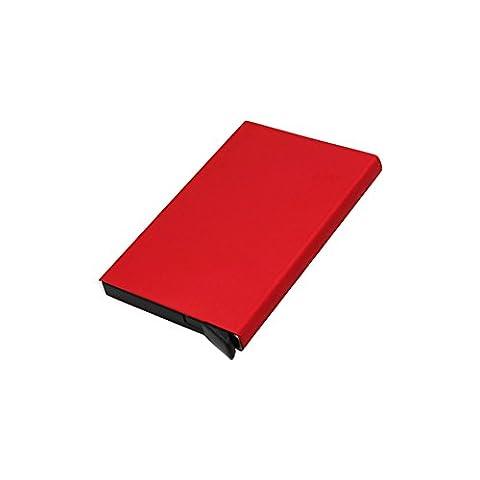 XMDZ Porte-cartes Titulaire Étui de la Carte de Credit Bancaire Visite RFID Protection en Aluminium Pop Up Rouge