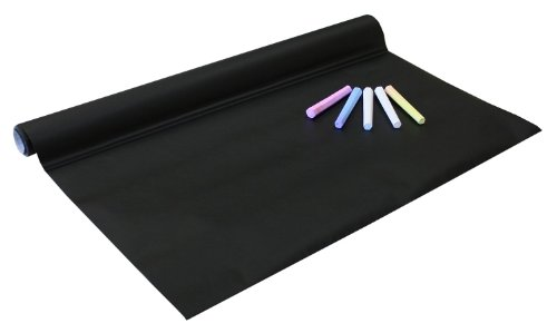 Preisvergleich Produktbild Idena 260025 - Tafelfolie selbstklebend, inklusive 5 Kreiden, 45 x 200 cm, schwarz