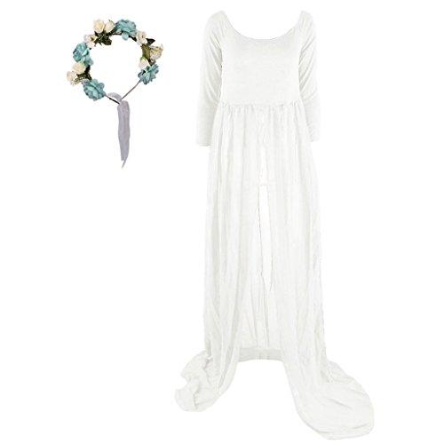 Baoblaze Sexy Schwanger Fotoshooting Lange Maxi Kleid Mutterschaft Kleid Fotografie Requisiten Chiffon Umstandskleid mit Blumen Haarschmuck - Weiß + Blau, one size