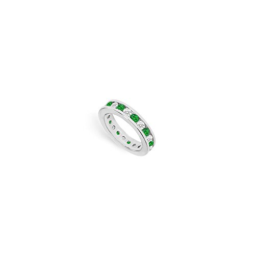 Diamond and Emerald Eternity Band in 18K White Gold 2 CT TGW Second Wedding Anniversary Gift (Wedding 18 Band White K Gold)