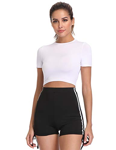Hawiton Damen Trainingsanzüge Tracksuit 2 Stück Set Outfits Sportanzug Jogginganzug Streifen Crop T-Shirt mit Bodycon Shorts, Weiß, M -
