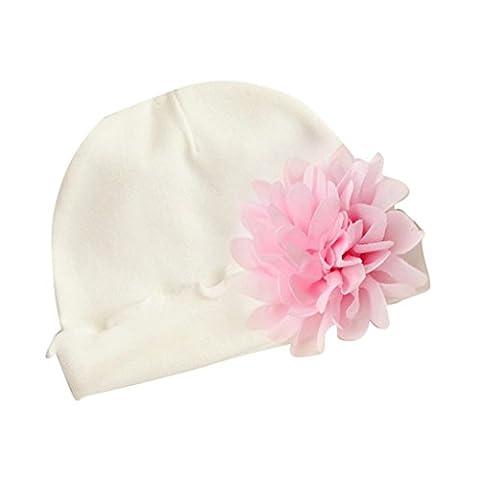 Kingko® Kids Baby Neugeborene Baby Niedliche Wintermütze Strickwolle Hemming Hut mit Pelzball Baby Hüte mit hübschen Strick Doppelball Rosa Wollmütze (Newborn Baby-kappe)