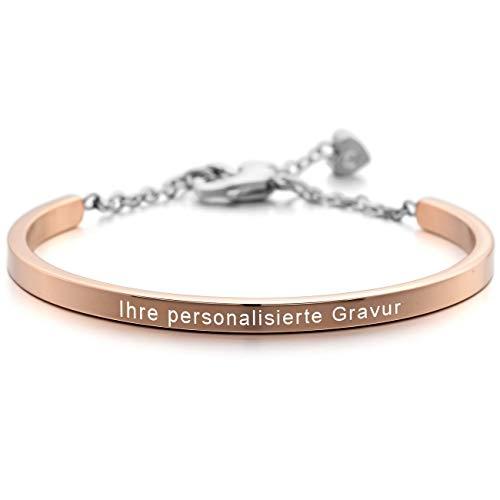 MeMeDIY Rosé Gold Ton Edelstahl Armband Manschette Herz Einstellbar Verstellbaren Gravur - Herz-manschette