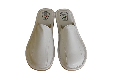 Slippers Natleat Womens Slippers 33 Mules-Zapatillas de estar por casa en Cuir Noir pour femme Noir 1 / White