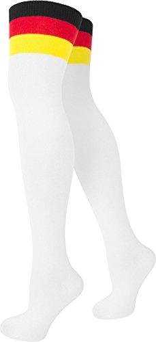 Damen Overknees in verschiedenen Designs/Baumwolle mit Elasthan in verschiedenen Farben zur Auswahl Farbe Deutschland/Weiß Größe Onesize (Frauen Fußball Kostüme)