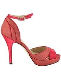 Menbur - Sandalias de Vestir de Tela para Mujer Rosa Rosa 3bf6af52cf24