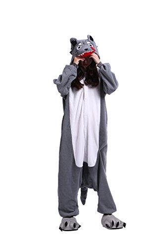 Imagen de yuwell onesie kigurumi pijamas unisex cosplay animales traje disfraz pyjamas halloween, dibujos animados lobo gris xl height 180 190cm