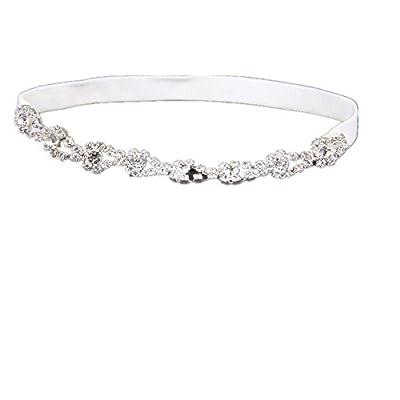 TRLYC Stretch Garter Lace Wedding Garter Rhinestones Beadings Bridal Garter Belt