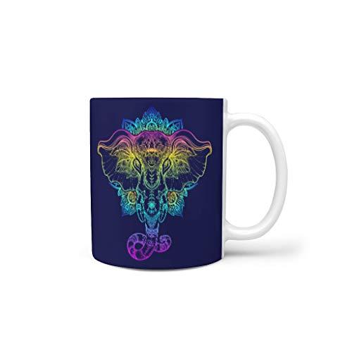 NC83 11 Oz Elephant Mischen Cappuccino Becher Tasse mit Griff Keramik Personalize Tassen - Elephant Frauen Geschenke, Anzug für Wohnheim verwenden White 330ml