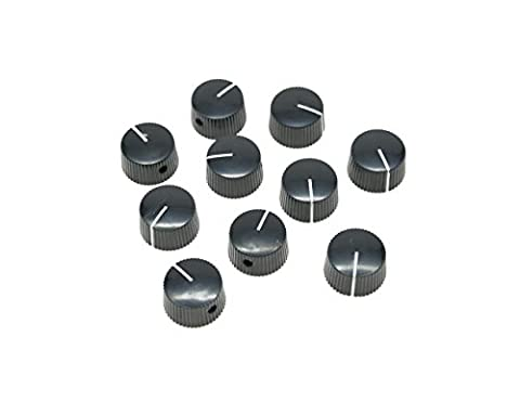 KAISH Pack of 10 Black Vintage Barrel Guitar Amplifier Knob Round Knobs with Set Screw
